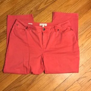 Talbots Nantucket red curvy ankle length pants